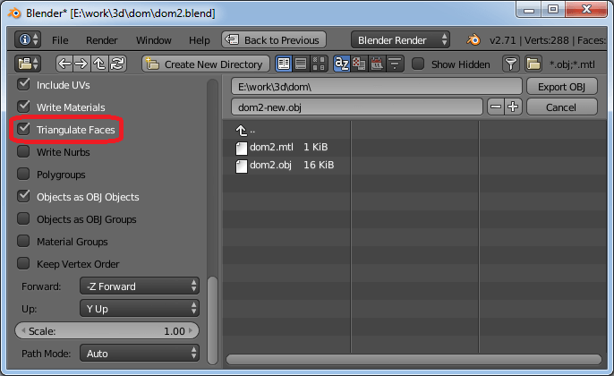 Correct export in Blender for Comipo